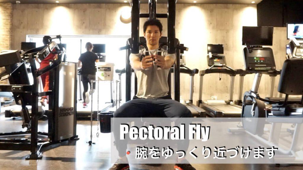胸の筋肉を鍛えるジムマシン・ペクトラルフライ