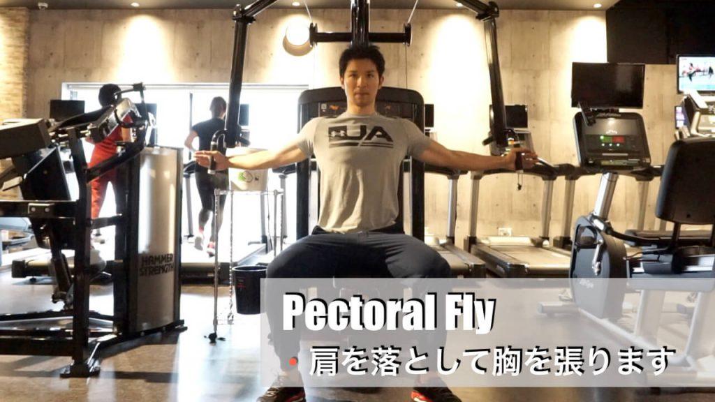 胸の筋肉を鍛えるジムマシン・ペクトラルフライ(start)